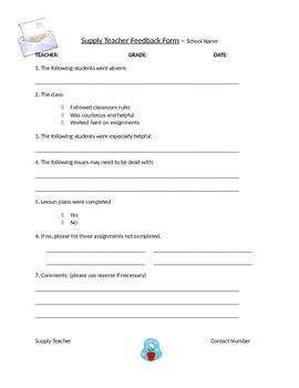 Supply Teacher Folder Templates