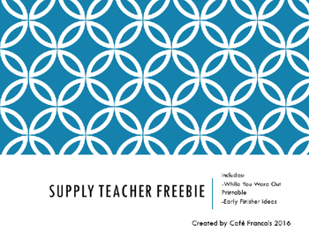 Supply Teacher Report Freebie