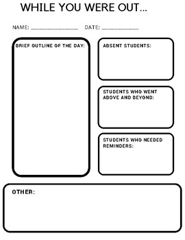 "Supply Teacher ""While you were out"" Form"