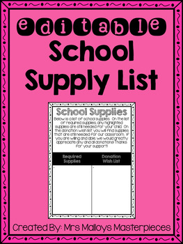 Supply Wish List FREEBIE {{EDITABLE}}