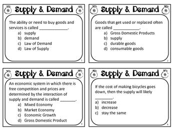 Supply and Demand Task Cards