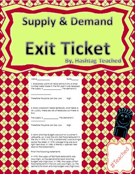 Supply and Demand Exit Ticket Assessment