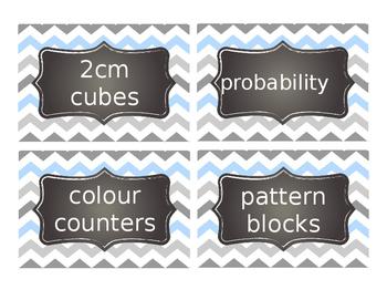 Supply and Math manipulatives labels