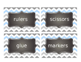 Supply and Math manipulatives labels