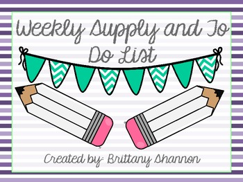FREEBIE! Supply and To Do List- Purple