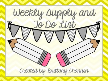 FREEBIE! Supply and To Do List- Yellow