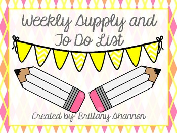 FREEBIE! Supply and To Do List- Pink, Yellow, Orange