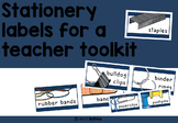 Teacher toolkit labels - stationery and supplies