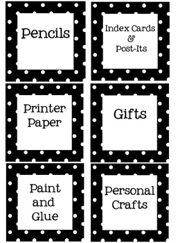 Supply/Center Labels for Classroom- Black and White polka-dot