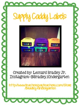 Supply/Table Caddy Labels