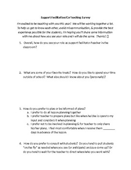 Support Facilitation/Co-Teaching Survey for Beginning of the Year