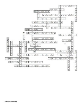 Support, Protection, and Movement Part II Vocabulary Crossword for Zoology