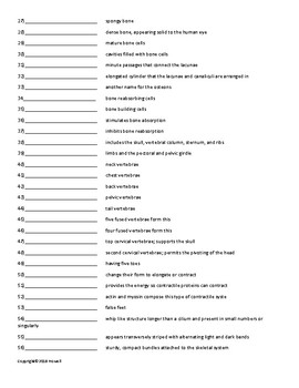 Support, Protection, and Movement Vocabulary Quiz or Worksheet for Zoology