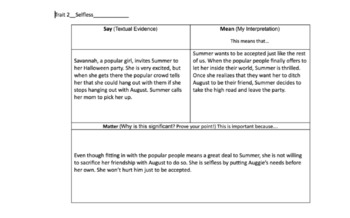 Supporting Character Traits Through Textual Evidence for Wonder