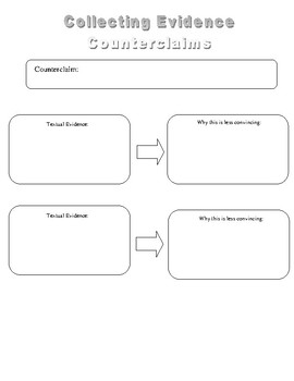 Supporting Claims and Counter Claims Graphic Organizer