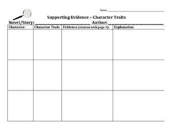 supporting evidence character traits worksheet by monica lukins. Black Bedroom Furniture Sets. Home Design Ideas