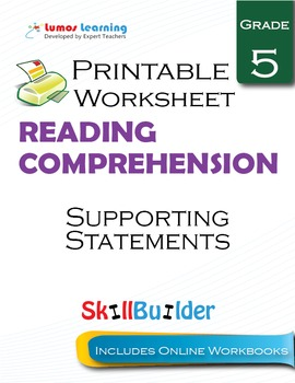 Supporting Statements Printable Worksheet, Grade 5