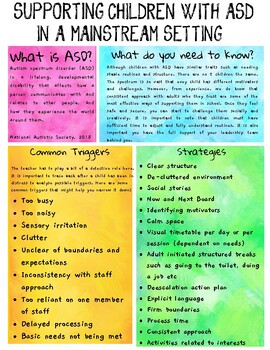 Supporting children with ASD in a mainstream setting