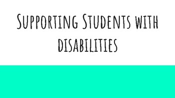Supporting special education students/ student behaviors