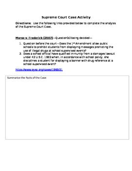 Supreme Court Case Activity--Morse v. Frederick 1st Amendment (2007)