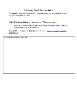 Supreme Court Case Activity - United States v. Miller - 1939 - 2nd Amendment