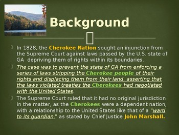 Supreme Court Case - Cherokee Nation v. Georgia