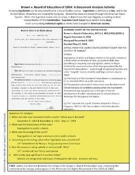 Supreme Court Case Document Analysis Activity BUNDLE of 10 Popular Cases