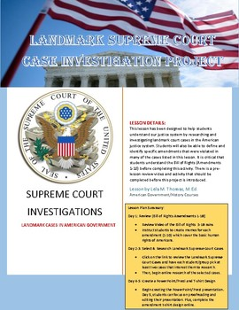Supreme Court Case Investigation Project (Bill of Rights Review)