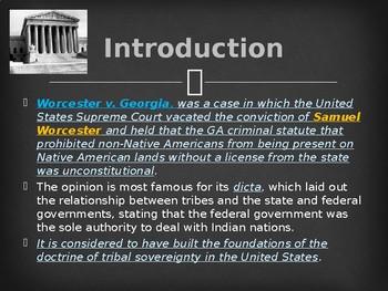 Supreme Court Case - Worcester v. Georgia