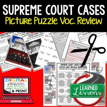 Supreme Court Cases Picture Puzzle Unit Review, Study Guid