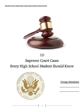 Supreme Court Cases Student Driven Learning