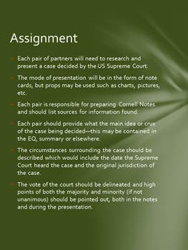 Supreme Court Cases: Student Presentations of Landmark Decisions