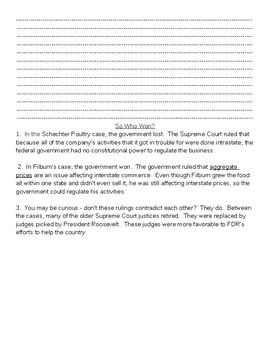 Supreme Court Cases of the New Deal and the Commerce Clause