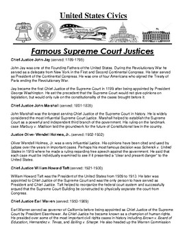 Supreme Court Justices Article and Assignment