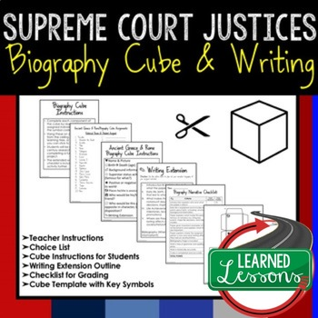Supreme Court Justices Activity Research Cube with Writing Extension