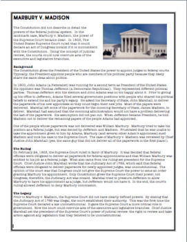 Supreme Court Marbury v. Madison Summary and Questions   TpT
