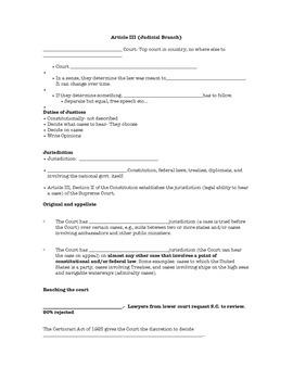 Supreme Court & Judicial Branch Note Sheet