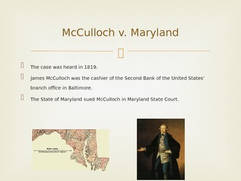 Supreme Court Presentation Sample Case--McCulloch v. Maryland