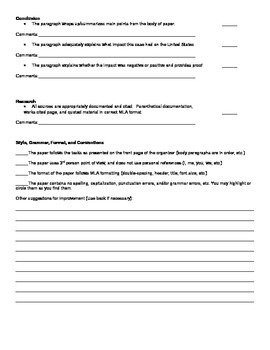Supreme Court Research Paper Peer Editing Checklist