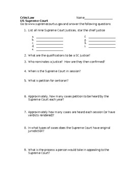 Supreme Court Worksheet