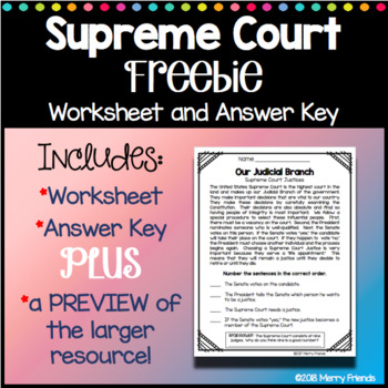 Supreme Court Worksheets Teaching Resources Teachers Pay Teachers