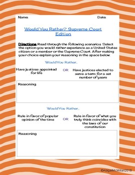 Supreme Court Would You Rather? Scenarios