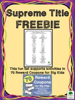 Supreme Title List FREEBIE