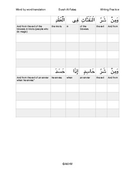 Surah Al-Falaq (word by word English translation and writing practice)