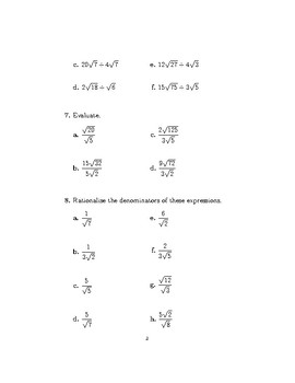 Surds-Rationalising the denominator (worksheet with detailed solutions)