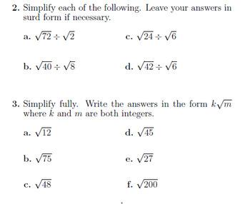 Surds and rationalising the denominator worksheets bundle