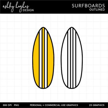 Surf Board Clipart {A Hughes Design}