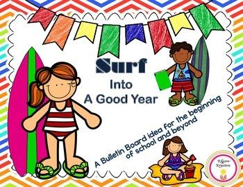 Surf Into A Good Year {Beach Theme Bulletin Board Idea}
