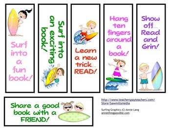Surf Into Reading Encouragers - Bookmarks, Reading Logs, and More