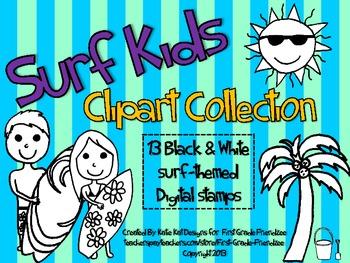 Surf Kids Black & White Digital Stamp Clipart